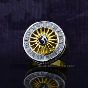Om God Gold Mens Ring 22k Yellow Gold Cubic Zircon And Rhodium Color Ring 37