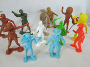 Vintage 1960s Lot Of 12 Marx Tim-mee Toys 6 Plastic Figures Cowboys Army Space
