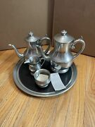 Woodbury Early American Reproduction Pewter Coffee And Tea Set