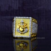 Ganesha God 22k Yellow Gold Ring With Stone And Rhodium Color 53
