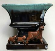 Vtg Tilso Japan Planter Boxer Dogs And Puppies Hand Painted Brown Blue Blended Euc