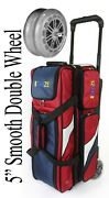 Kaze Sports Deluxe 3 Ball Roller Bowling Bag Double Smooth Pu Wheels
