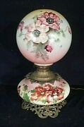 Antique Victorian Hand Painted Milk Glass Gwtw Lamp With Matching Ball Shade