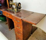 Vintage Singer Sewing Machine In Cabinet Electric
