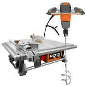 Ridgid Wet Tile Saw 6.5-amp Corded Table Top Single-paddle Mixer Water Pump