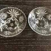 2 Anchor Hocking Star Of David Early American Prescut Footed Bowls/dishes