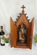 Top Neo Gothic Church Wood Carved Chapel Bishop Saint Figurine Statue Religious