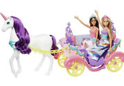✅2017 Barbie Dreamtopia Sweetville Carriage Unicorn And 2 Doll Princess Playset