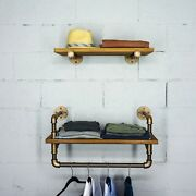 2 Piece Floating Pipe Wall Shelves Wood Storage Display Rack Decor Living Room