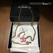 Belt Chain Auth Coco Mark Vintage Rare Logo Gold Pink Necklace Cute F/s