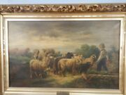 Early Victorian Large Oil On Canvas Sheep And Shepherd Deep Gold Frame 1880and039s