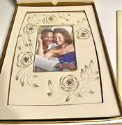 Rare Lenox Golden Roses Ivory W/24k Gold Photo Frame For 5x7 Photos-new In Box