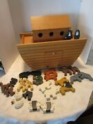 Collectible Solid Oak Wood Noahand039s Ark With Animals 19andrdquo Wide 30 Figures Finished