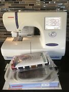 Janome 300e Embroidery Machine Preowned + Customizer 11000 Quilting Sewing