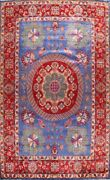 10x14 Ft Blue Geometric Traditional Oriental Area Rug Wool Hand-knotted Carpet