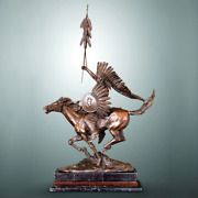 Indian Chief Ridding Horse Bronze Sculpture Ornament Crafts Home Office Decor
