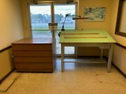 Vintage Stacor Drafting Table 60x38x37 And Drafting Cabinet Set