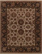 Agra Ivory Black Floral Oriental Wool Hand-knotted Area Rug Assorted Carpet 8x10