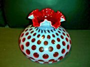 Fenton Cranberry Coin Dot Opalescent Glass 10 Rufled Lamp Shade, New