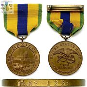 M.nọ 1339 Wwi U.s. Navy Mexico Campaign Medal Numbered U.s. Mint Wrap Brooch