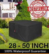 Gas Fire Pit Cover Square 600d Heavy Duty Patio Outdoor Table Pvc Fit 28-50 Inch