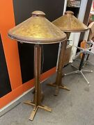 Pair Of Andlsquo90s Mission Style Floor Lamps W Copper And Mica Shades Andmdash Arts And Crafts