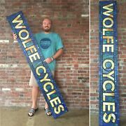 Large Wolfe Cycles Custom Stained Glass Sign Andmdash Vintage Retro Americana Mosaic