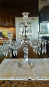1 Antique Duncan And Miller Candelabra With Lead Crystal Prisms17 Inches