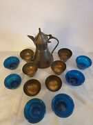 Vintage Egyptian Brass Decanter With 6 Cups And Brass Holders