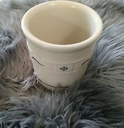 """Longaberger Pottery Woven Traditions Ivory And Blue 1 Quart 5 1/2"""" Crock"""