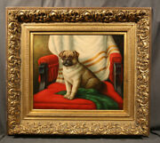 Pug Dog Portrait Early 20th Century Antique American Animal Painting