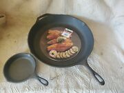 2 Nos Lodge Skillets 14sk Cast Iron Usa 15 Solid Pan Plus A 3sk 6 Skillet Nice