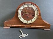 Vintage Welby Westminster Chime Mantle Clock With Key Germany 2 Jewel Working