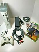 Microsoft Xbox 360 White W/ Power, Av Cable, Wireless Controller Games Very Nice