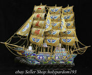 """28.4 Collect Old China Copper Cloisonne Filigree Fengshui Boat """"一帆风顺"""" Statue"""