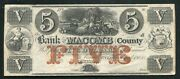 1858 5 The Bank Of Macomb County Mt. Clemens Mi Obsolete Currency Noteandnbsp