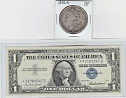 1892-s 1 Morgan Silver Vf Details And 1957b 1 Silver Certificate Star Note