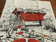 Vintage 1969 Calendar Red Covered Bridge Boy Dog Fishing Linen Kitchen Tea Towel