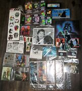 Vintage Star Wars Huge Lot Of Poster Post Cards Photo Stickers Cards And More