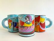 Vtg 1980's Mid Century Modern Picasso Style Italy Art Pottery Hand Painted Mugs