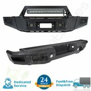 Black Complete Front And Rear Bumper Guard W/ Led Lights Winch For Ford F150 09-14