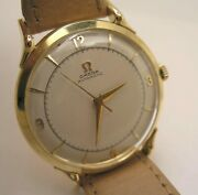 Fine Honeycomb Dial Omega Bumper Automatic Solid 18 K Rose Gold Watch Ref 2550