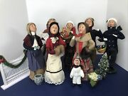 """13"""" Byers Choice Carolers Christmas Holiday Fence 7 Adults And Child Wooden Faces"""