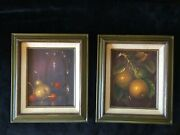 Pair Of Authentic Mid Century Still Life Oil Paintings Framed Fruit Cherries