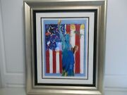 Peter Max - United We Stand Ii - Unique Variation - Mixed Media Acrylic In Color
