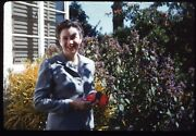 Pretty Woman Holding Flower Suit Red Lipstick 35mm Red Border Kodachrome Slide
