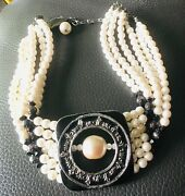 Vintage Faux Pearl Beaded 6 Strand Necklace Costume Jewelry Choker