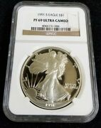 1991-s 1 Proof American Silver Eagle Ngc Pf69 Ultra Cameo