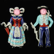 Mb Boucher Umbrella Lady And Man With Stick In Norwegian Dress Pair Of Pin Clips