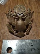 Antique World War Ii Cap Hat Officers Badge Us Army Screw Back